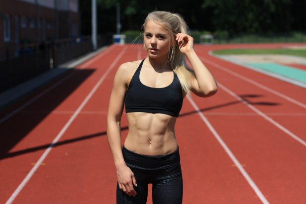 track girl with abs