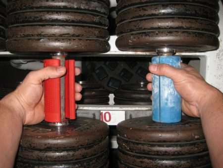 Thick dumbbell grips