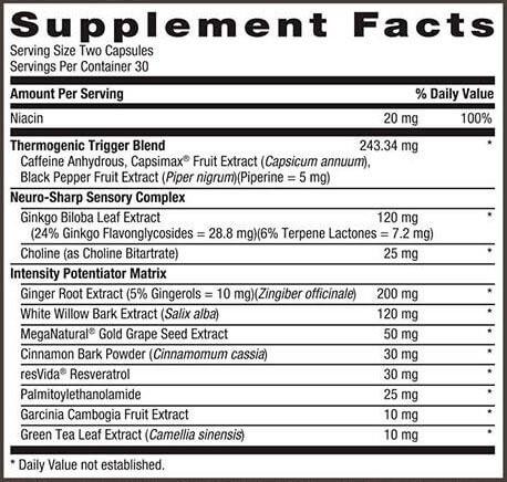 GNC META-IGNITE INFERNO Ingredients