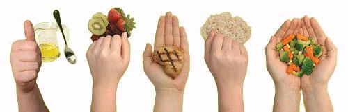 Food portions palm fist handful